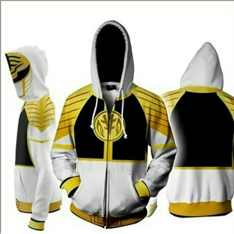 Po Power Rangers White Ranger Cosplay Zipper Hoodie Men S Fashion