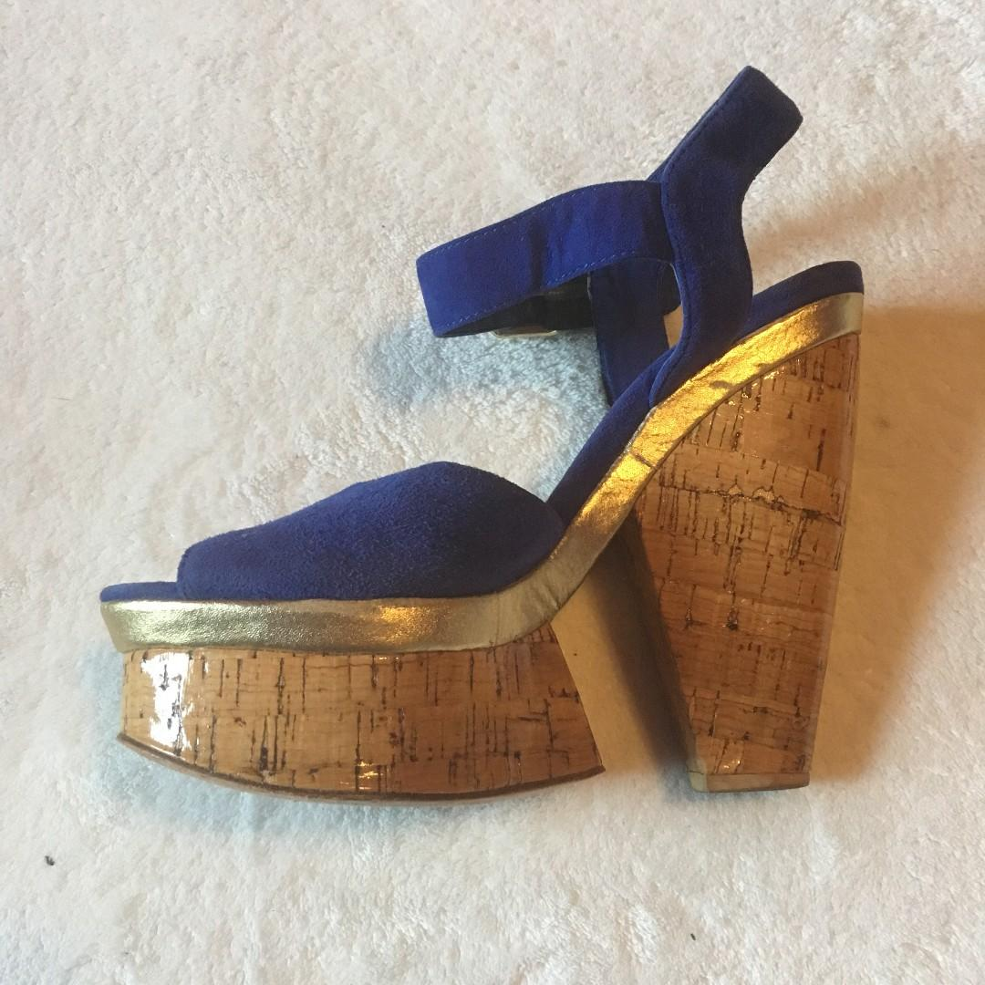 Super FUN and Cute Dolce Vita Blue Suede Wood Heel and Platform Size 6