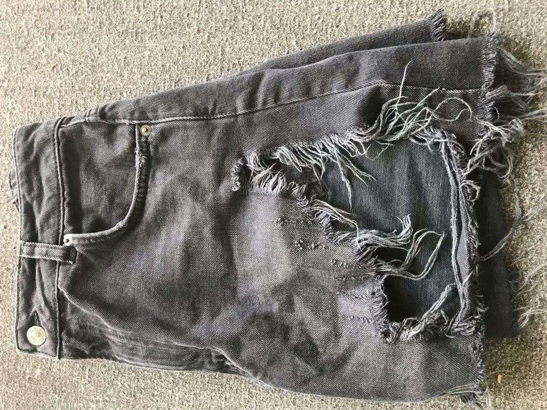 Topshop distressed denim skirt