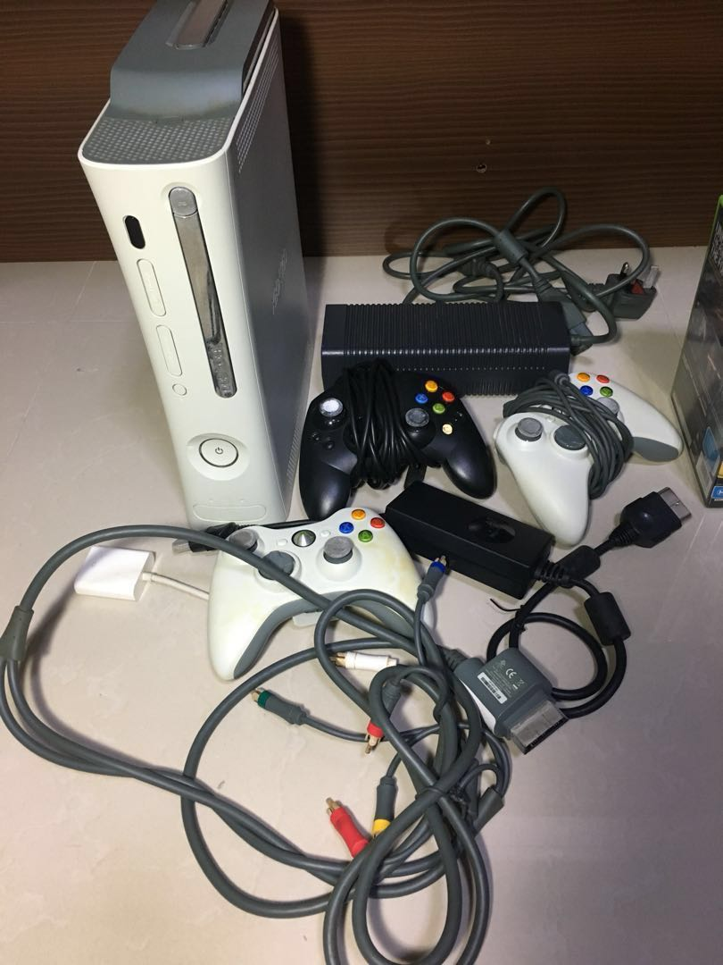 Xbox 360 console with games and Controllers, Toys & Games