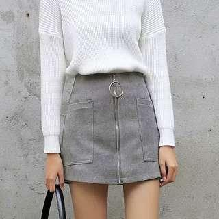💙 Grey Zip Up Ring A-line Skorts 💙