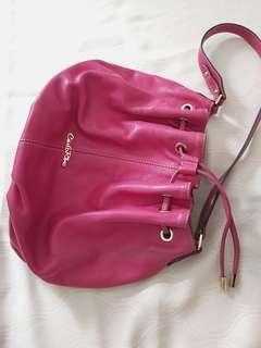Carlorino fuchsia leather bucket bag