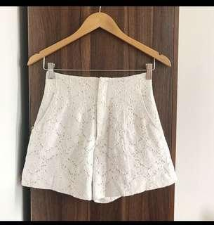Off-white lace shorts