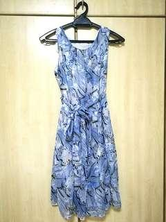 #H&M50 [SALLYFASHION] Beautiful blue dress 👗 with 🎀 ribbon at waist detail; medium size #MFEB20