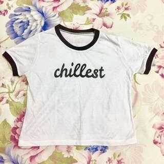 Black and white chillest semi-crop top