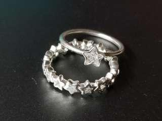 Authentic PANDORA Star Silver Rings x 2 (Size: 54)