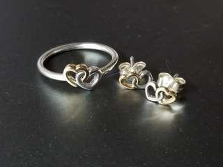 PANDORA Heart to Heart 2 tone Ring and Earrings