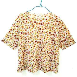 Big Size Blouse Import Floral Flowery T-Shirt Motif Bunga