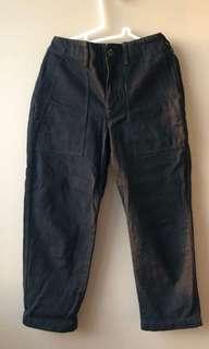 Uniqlo Black boxy cargo denim boyfriend jeans