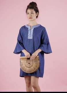 Denim ruffles sleeve mini dress
