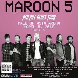 Maroon 5 Red Pill Blues Tour in Manila GenAd Tickets