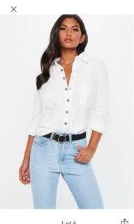 Missguided white jersey horn button shirt