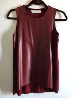 Zara Faux Leather Sleeveless Top Size Small