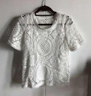 White Lace Top Size Small