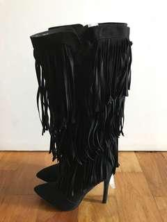 Just Fab Fringe Boots Size 5.5