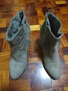 Forever21 Gray Suede Side Zipper Boots