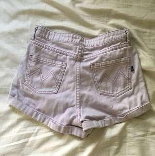 MINK PINK Pastel High Waist Denim Shorts