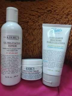 Kiehl's ultra facial toner & cream, deep pore daily cleanser