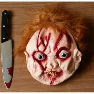 Party Mask Chucky Mask and Bloody Knife Set
