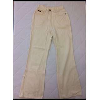 IBS米色喇叭褲 落地褲 闊腿褲