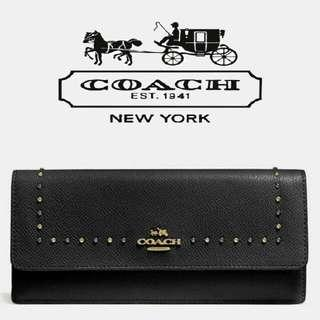 AUTHENTIC COACH EDGE STUDS SOFT WALLET IN CROSSGRAIN LEATHER f52772