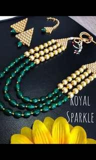 Three layered green stone necklace