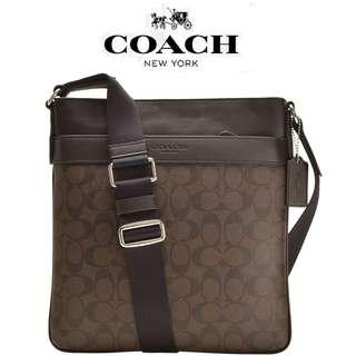 New Authentic Men's COACH F54781 Charles Crossbody Bag Signature in Brown/Black