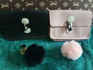 fashion sling bag with furball