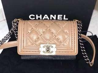"Chanel le boy 8"" quilt stitched calf skin sling bag"
