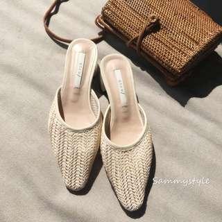 正韓 米色編織穆勒鞋(23號)-大降價