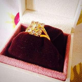 Peranakan Intan (diamond) Gold Ring