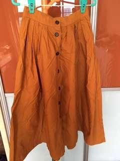 H&M High-Waist Dark Orange Button Down Long Flare Skirt EU32