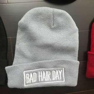 Red beanie (bad hair day)