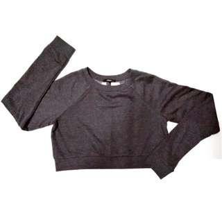(全新)美國品牌Forever21 F21深灰色棉質刷毛休閒短身短版長袖T恤上衣