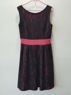 $ REDUCED Black Lace Pink Skater sleeveless Dress