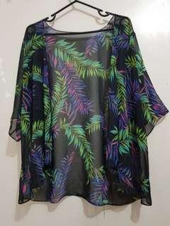 Rainbow leaf mesh cardigan