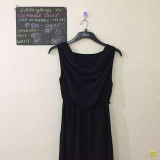 Small - Plain Black Cowl Neck Sleeveless Dress with sheer layer - check description for details