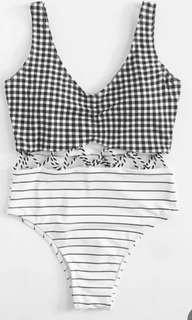 Gingham stripe swimsuit