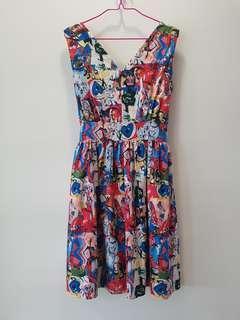 $REDUCED Abstract Art Print Skater Dress