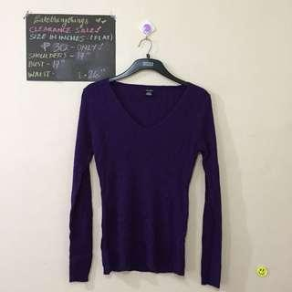 XL - Purple Knit Long Sleeved Pullover