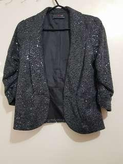 3/4 sleeve sequin grey blazer