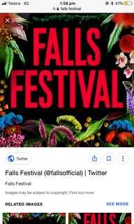 SELLING 1 x 4 day falls ticket with camping
