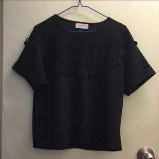 Sale!!🈹$50 for 3 pcs 黑色暗花短袖衫/上衣