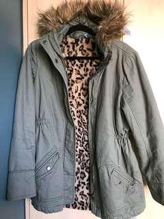 Khaki parka with removable fur lining
