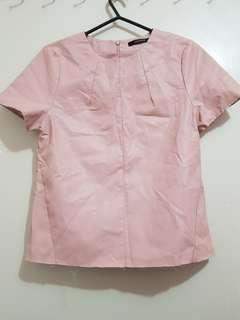 Pink raw leather top