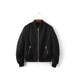 Black Bomber Jacket high quality