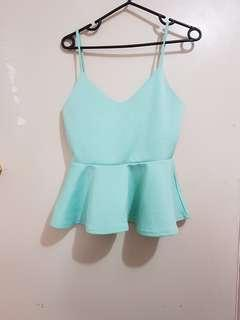 Green peplum top