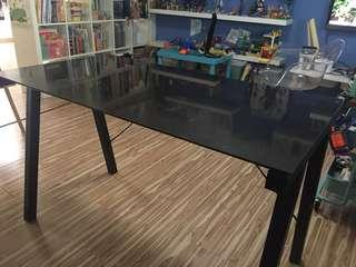 Tempered glass and metal legs study table