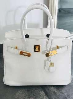 2b3be0a8fd88 Hermes Birkin 30 White Swift GHW