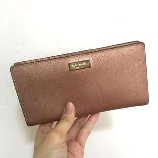 Kate Spade Rose Gold Stacy Newbury Lane Leather Long Wallet
